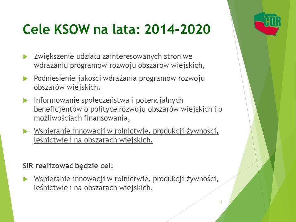Cele KSOW na lata: 2014-2020 Zwiększenie udziału zainteresowanych stron we wdrażaniu programów rozwoju obszarów wiejskich,