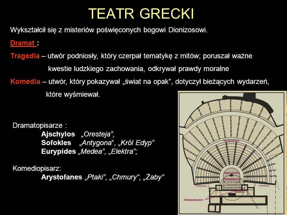 TEATR GRECKI Wykształcił się z misteriów poświęconych bogowi Dionizosowi. Dramat :
