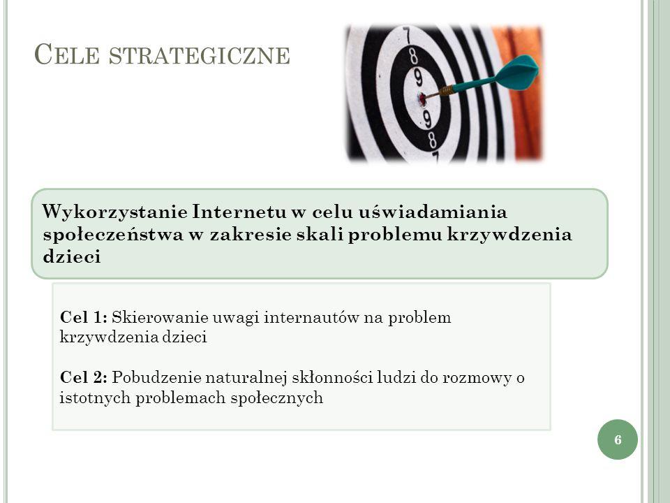 Cele strategiczneWykorzystanie Internetu w celu uświadamiania społeczeństwa w zakresie skali problemu krzywdzenia dzieci.