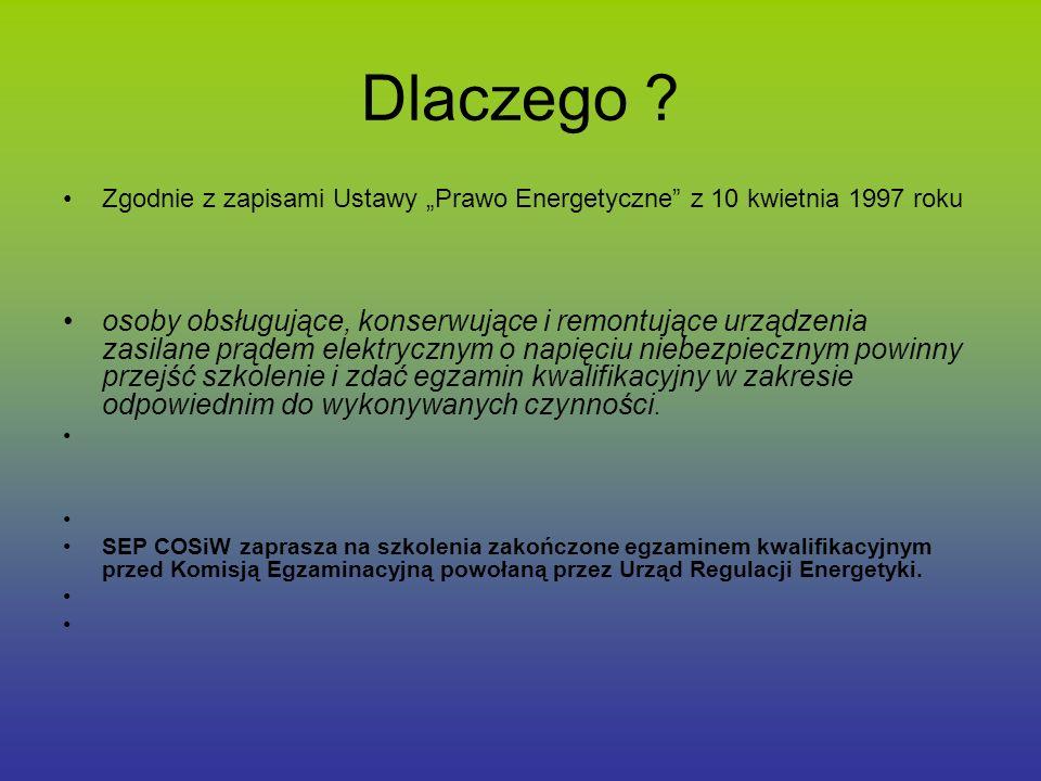 """Dlaczego Zgodnie z zapisami Ustawy """"Prawo Energetyczne z 10 kwietnia 1997 roku."""