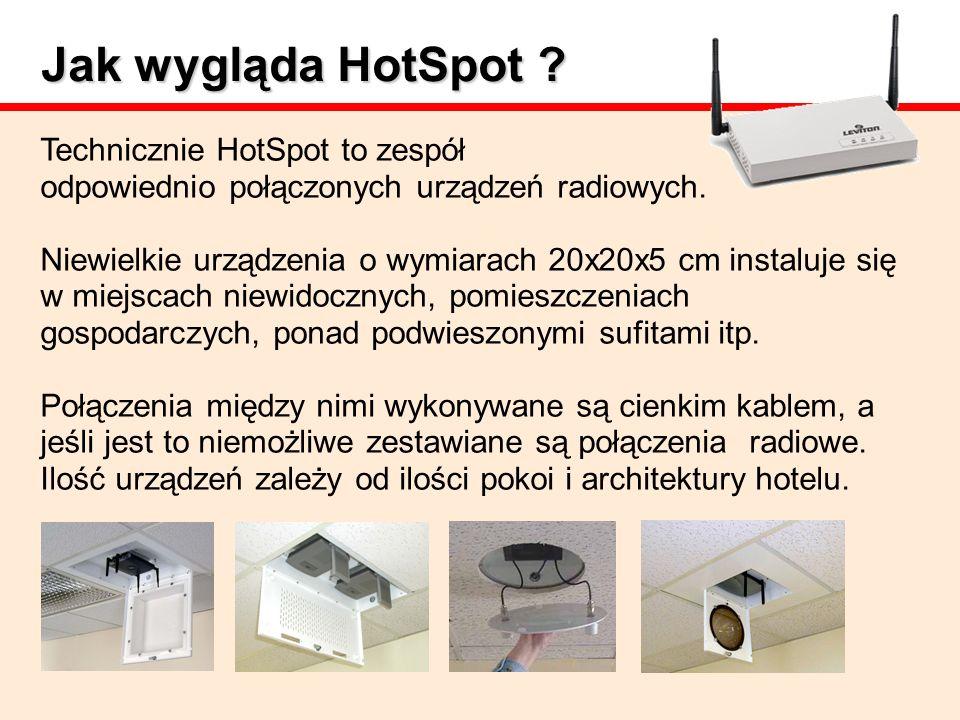 Jak wygląda HotSpot Technicznie HotSpot to zespół odpowiednio połączonych urządzeń radiowych.