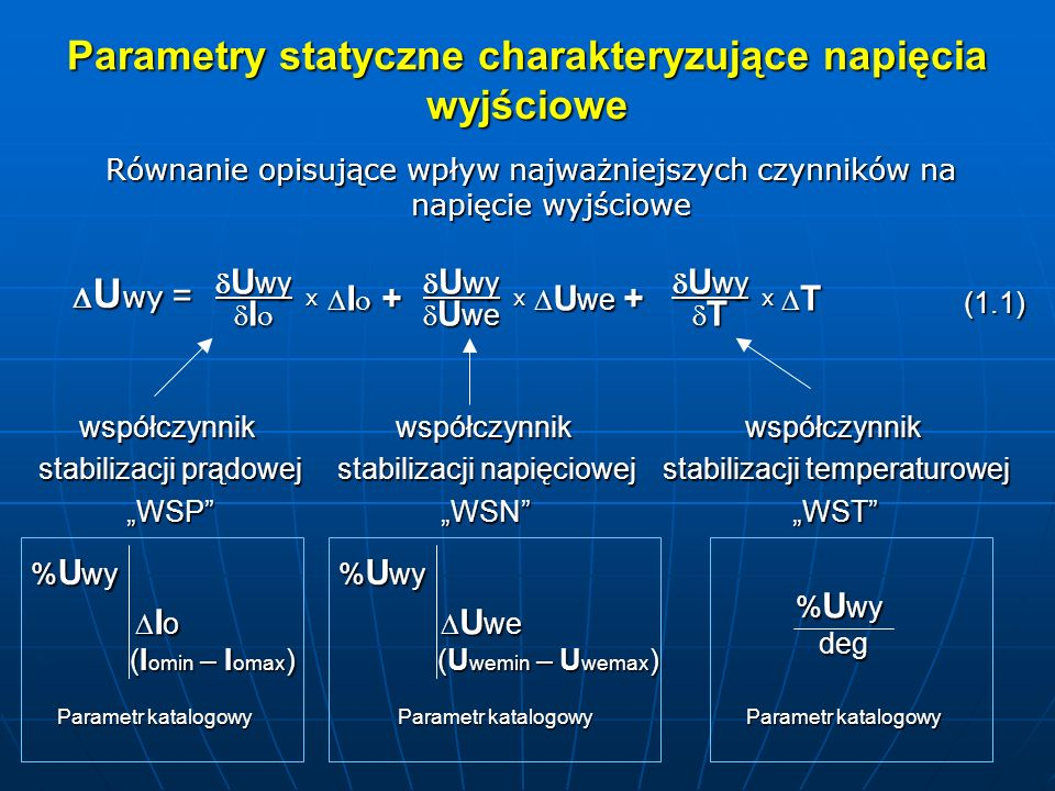 Parametry statyczne charakteryzujące napięcia wyjściowe