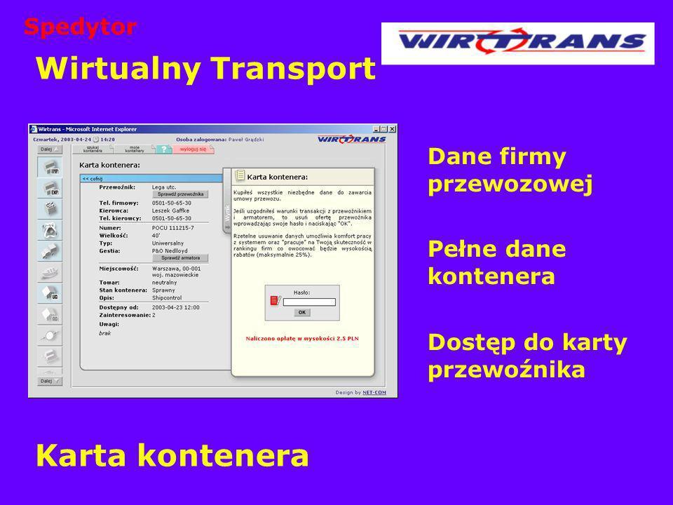 Wirtualny Transport Karta kontenera Spedytor Dane firmy przewozowej