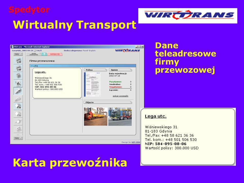 Wirtualny Transport Karta przewoźnika Spedytor