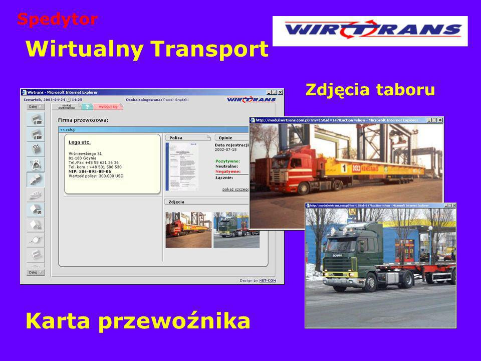 Spedytor Wirtualny Transport Zdjęcia taboru Karta przewoźnika
