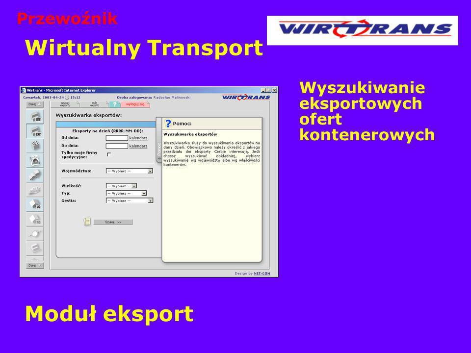 Wirtualny Transport Moduł eksport Przewoźnik
