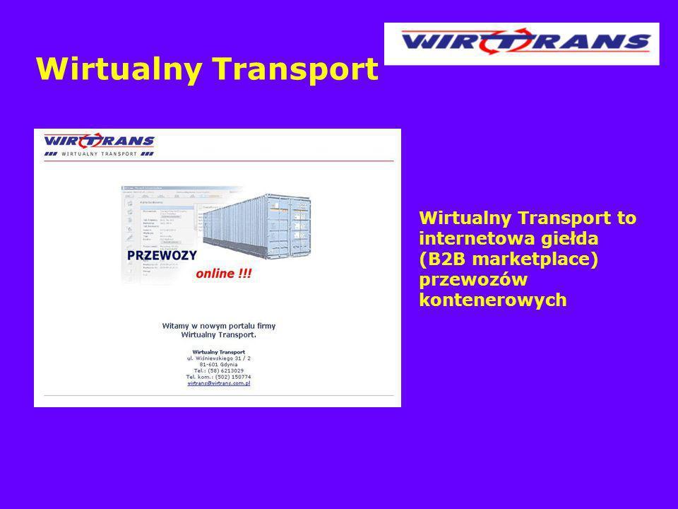 Wirtualny Transport Wirtualny Transport to internetowa giełda (B2B marketplace) przewozów kontenerowych.
