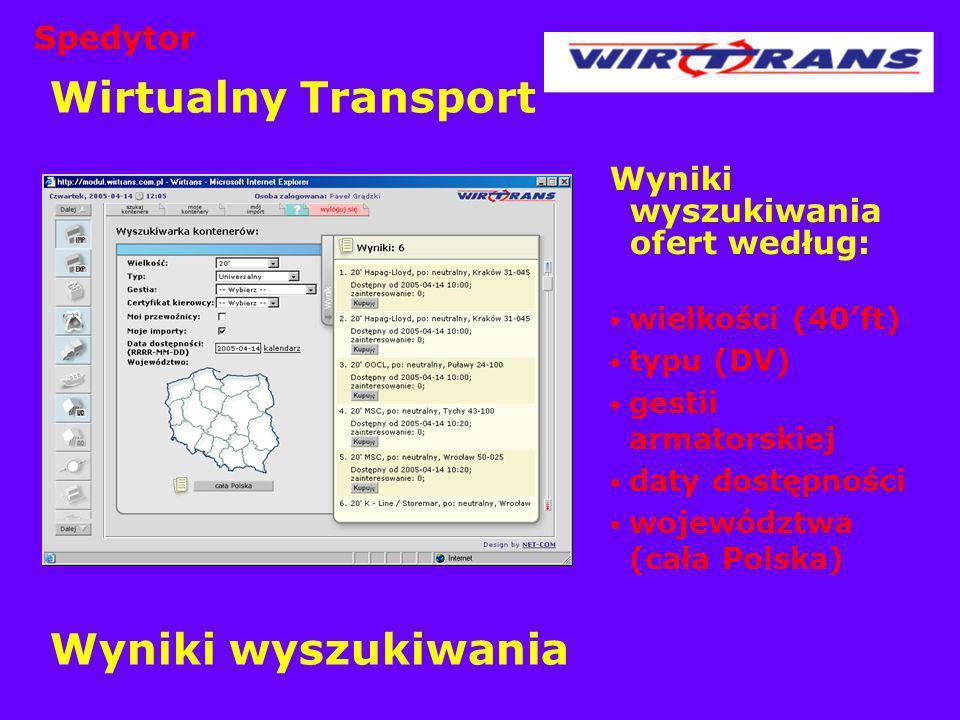 Wirtualny Transport Wyniki wyszukiwania Spedytor