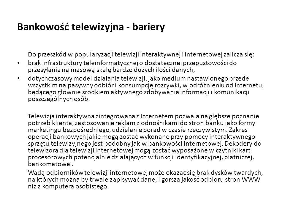 Bankowość telewizyjna - bariery
