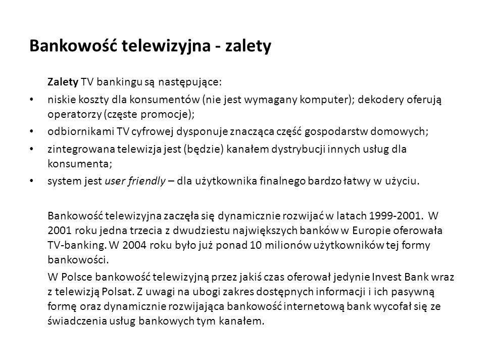 Bankowość telewizyjna - zalety