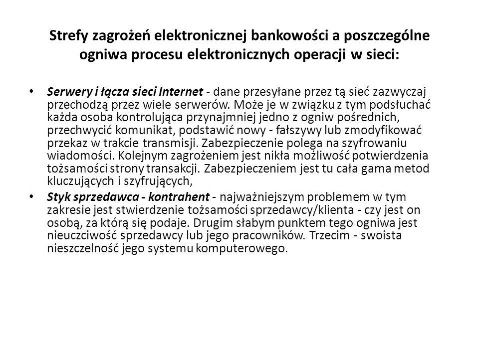 Strefy zagrożeń elektronicznej bankowości a poszczególne ogniwa procesu elektronicznych operacji w sieci: