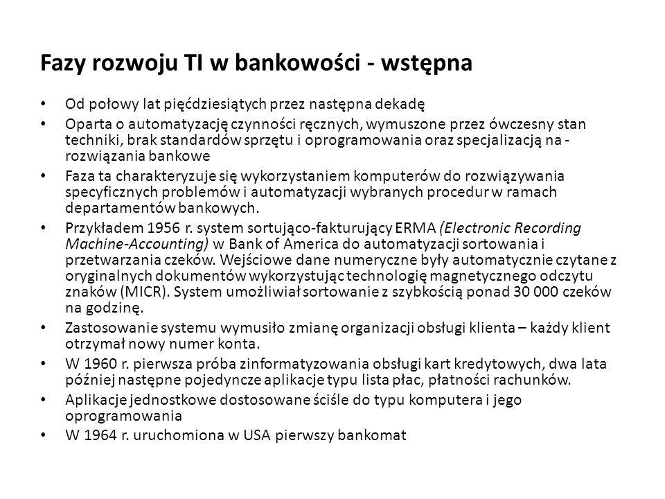 Fazy rozwoju TI w bankowości - wstępna