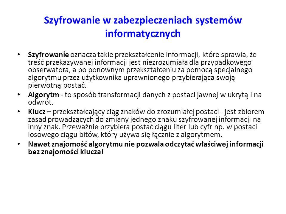 Szyfrowanie w zabezpieczeniach systemów informatycznych