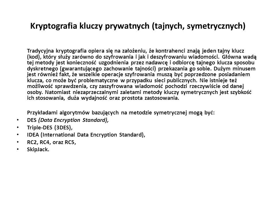 Kryptografia kluczy prywatnych (tajnych, symetrycznych)