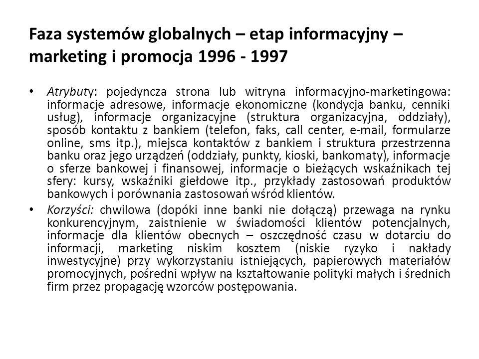 Faza systemów globalnych – etap informacyjny – marketing i promocja 1996 - 1997