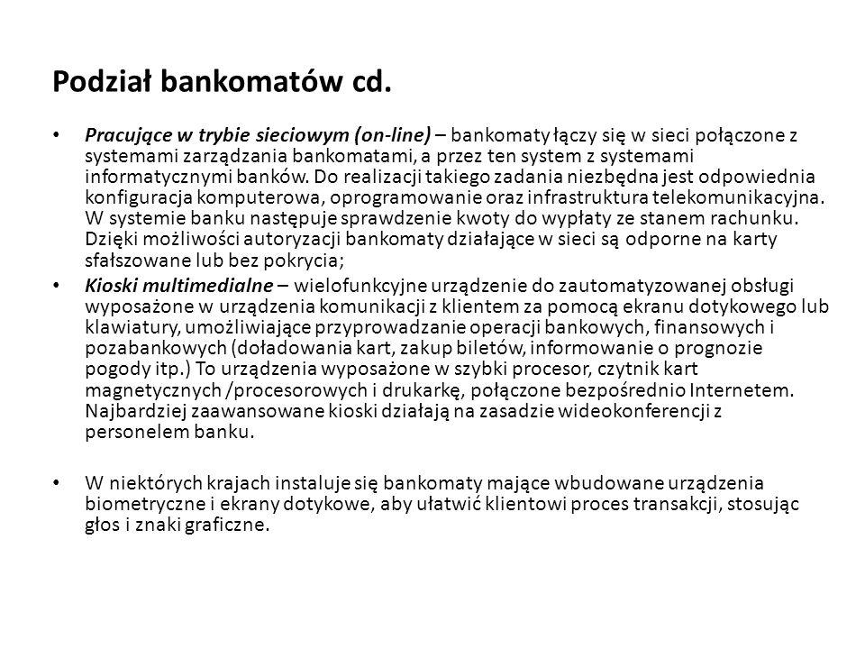 Podział bankomatów cd.