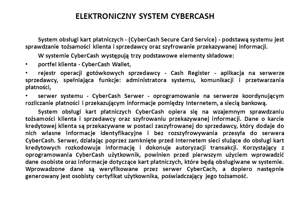 ELEKTRONICZNY SYSTEM CYBERCASH