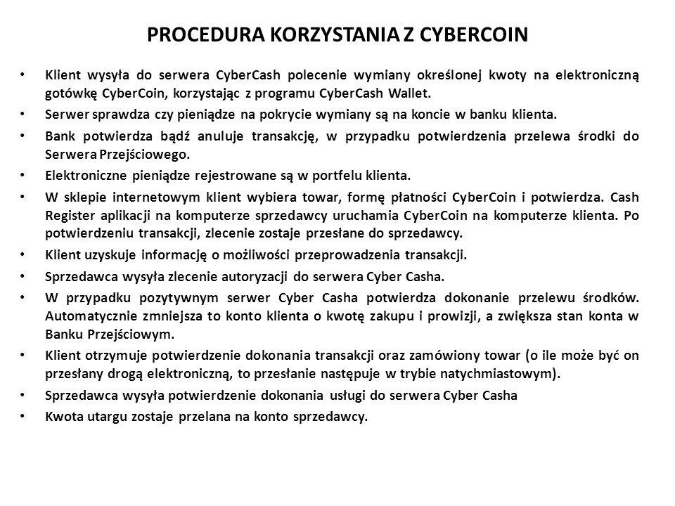PROCEDURA KORZYSTANIA Z CYBERCOIN
