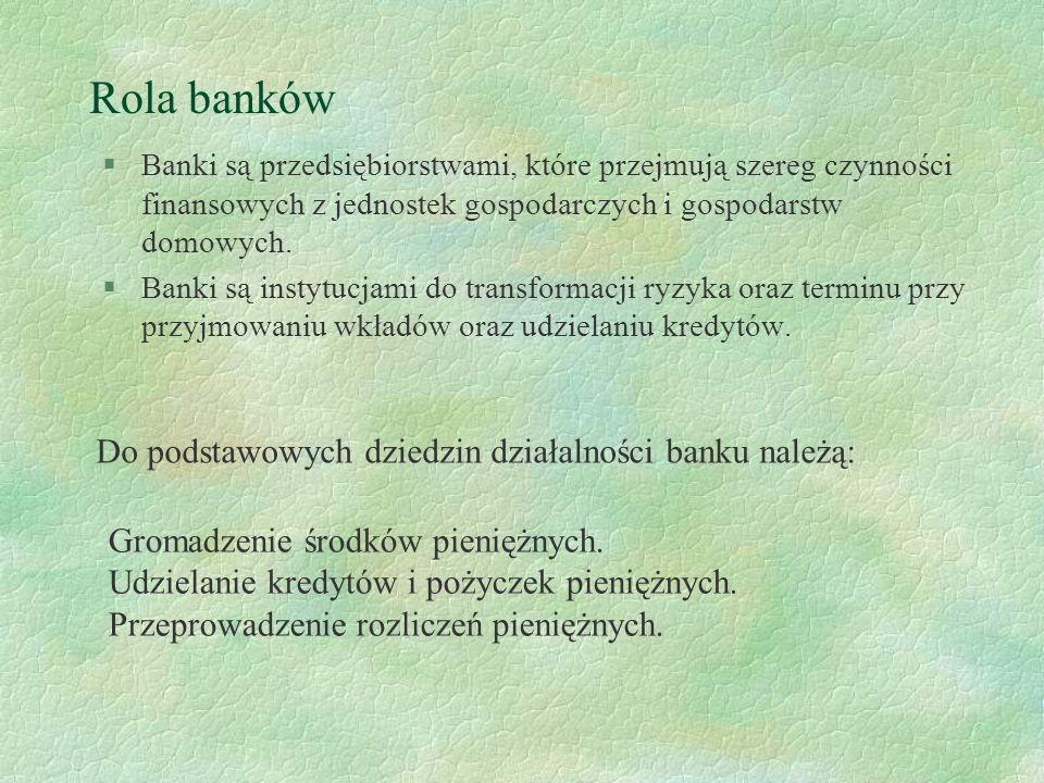 Rola banków Do podstawowych dziedzin działalności banku należą: