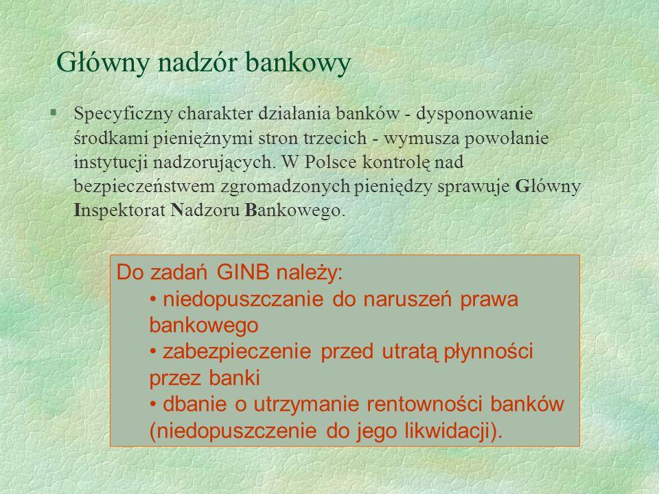 Główny nadzór bankowy Do zadań GINB należy: