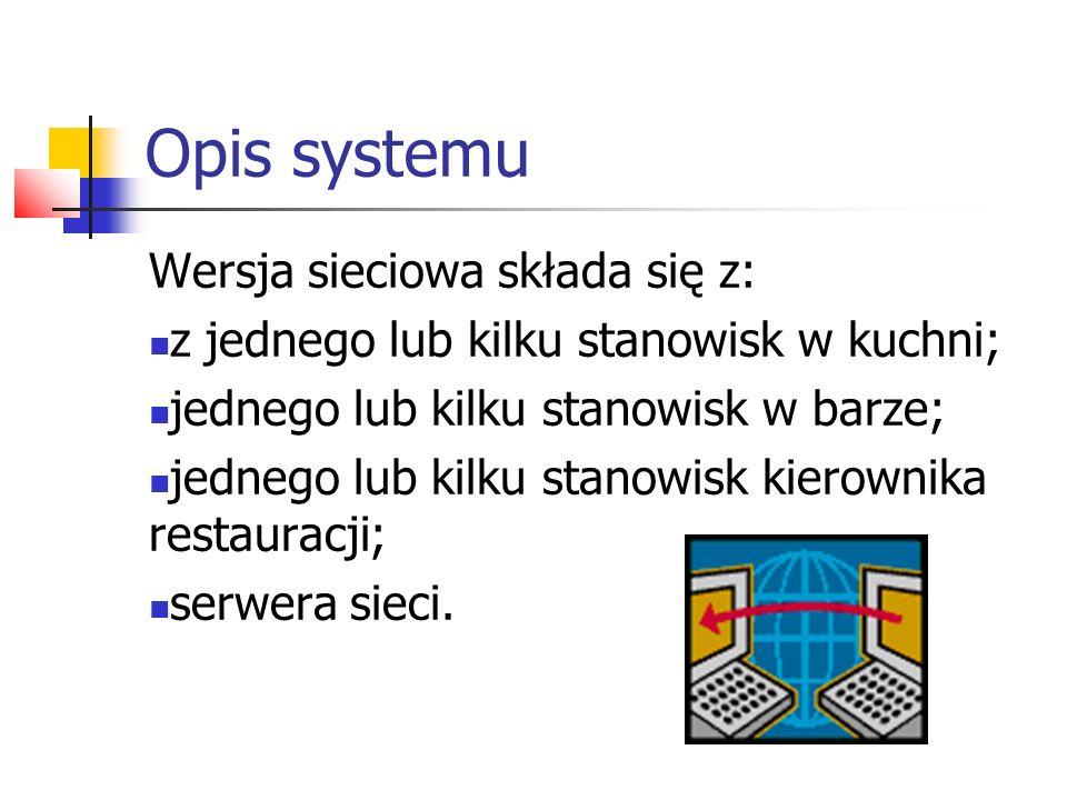 Opis systemu Wersja sieciowa składa się z: