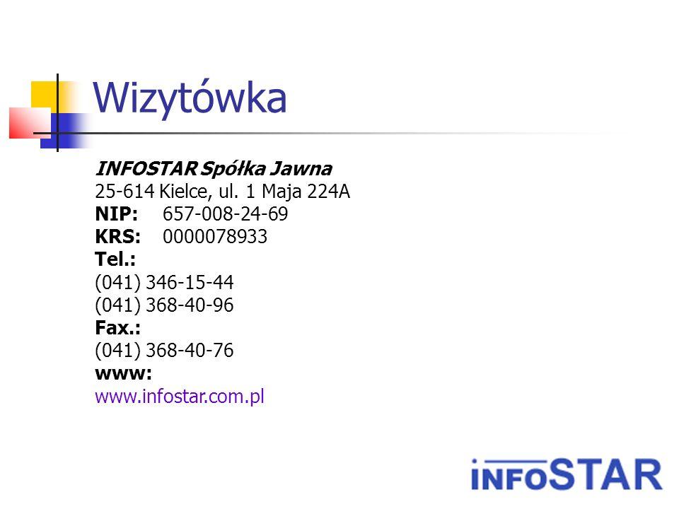 Wizytówka INFOSTAR Spółka Jawna 25-614 Kielce, ul. 1 Maja 224A