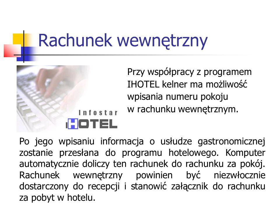 Rachunek wewnętrzny Przy współpracy z programem