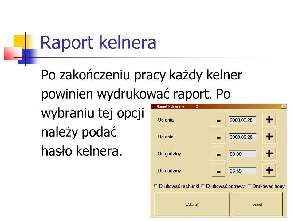 Raport kelnera Po zakończeniu pracy każdy kelner