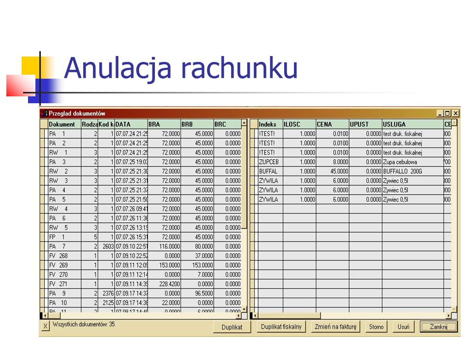 Anulacja rachunku