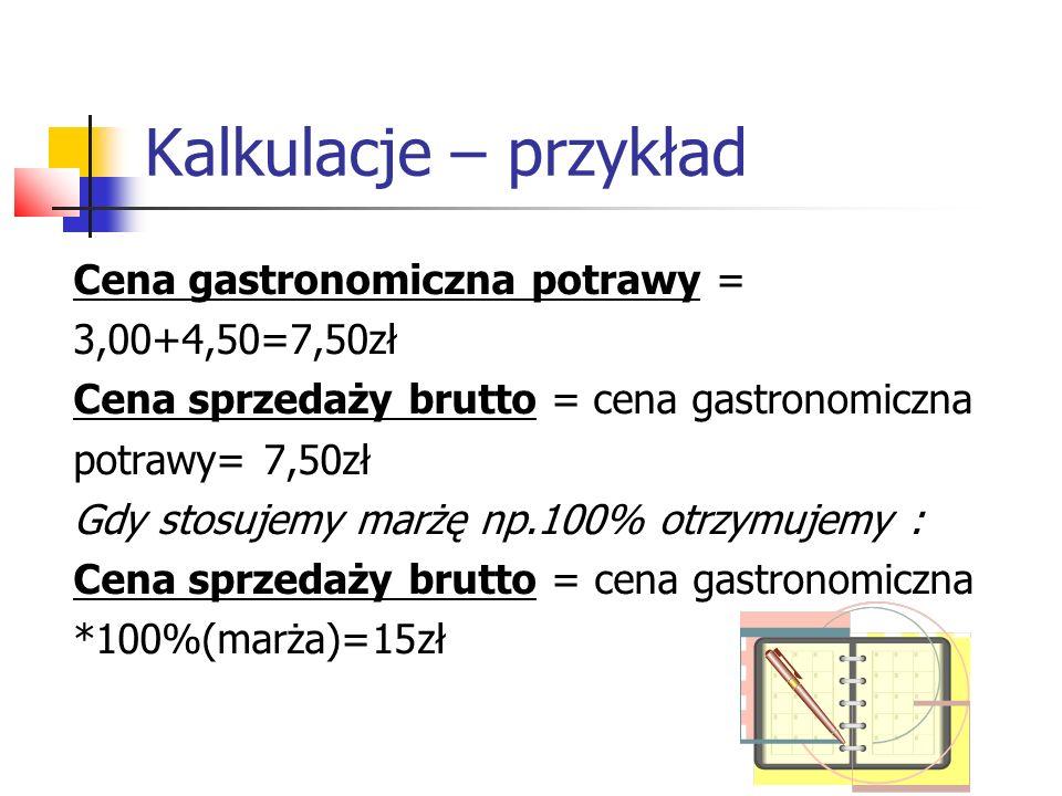 Kalkulacje – przykład Cena gastronomiczna potrawy = 3,00+4,50=7,50zł