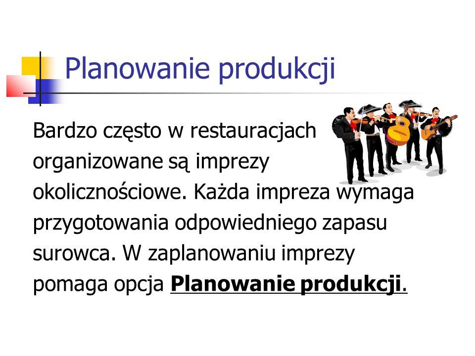 Planowanie produkcji Bardzo często w restauracjach