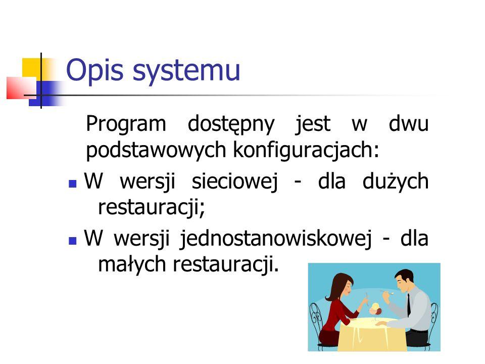 Opis systemu Program dostępny jest w dwu podstawowych konfiguracjach: