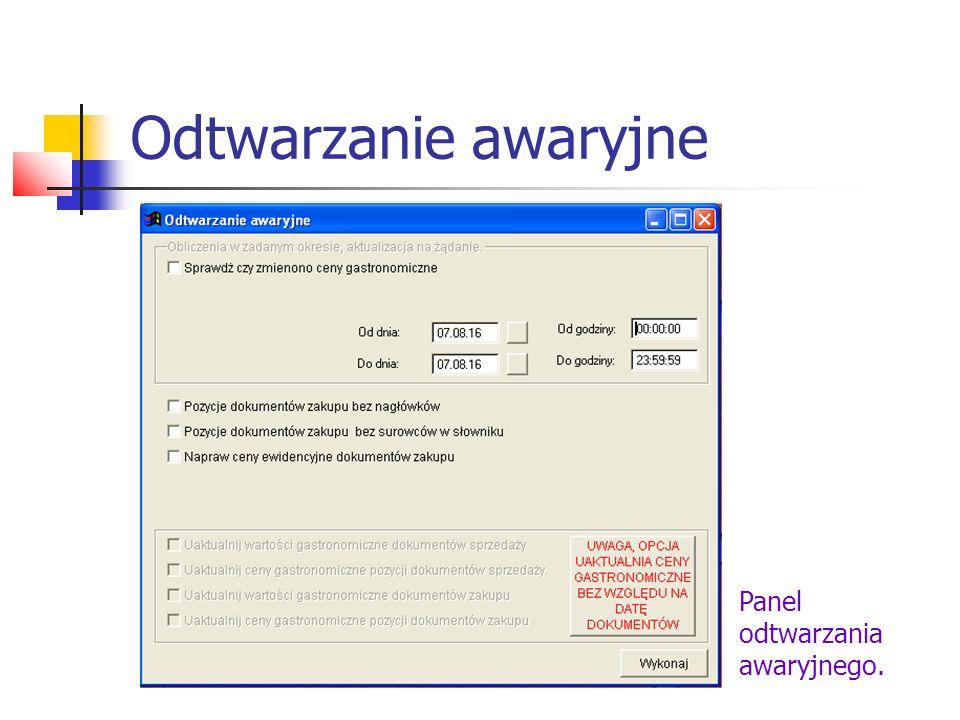 Odtwarzanie awaryjne Panel odtwarzania awaryjnego.