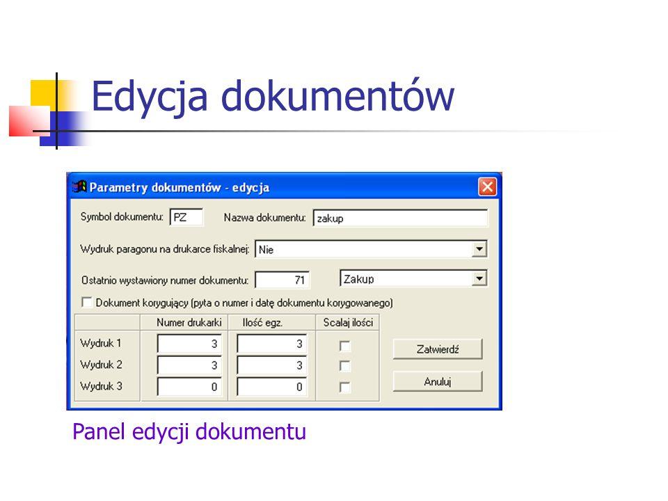 Edycja dokumentów Panel edycji dokumentu