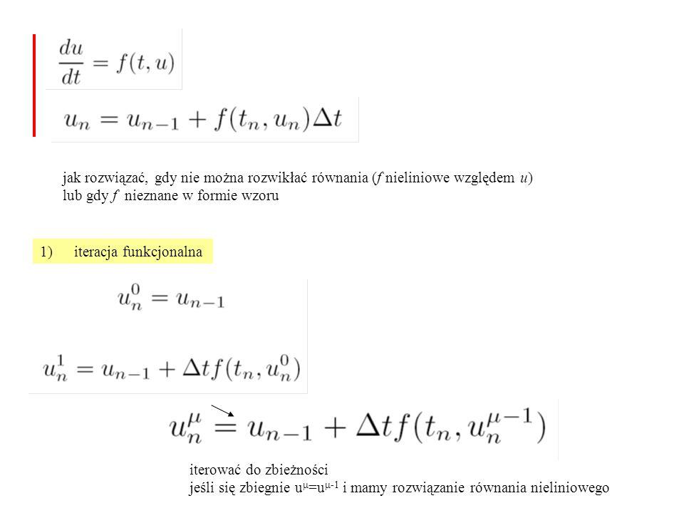 jak rozwiązać, gdy nie można rozwikłać równania (f nieliniowe względem u)