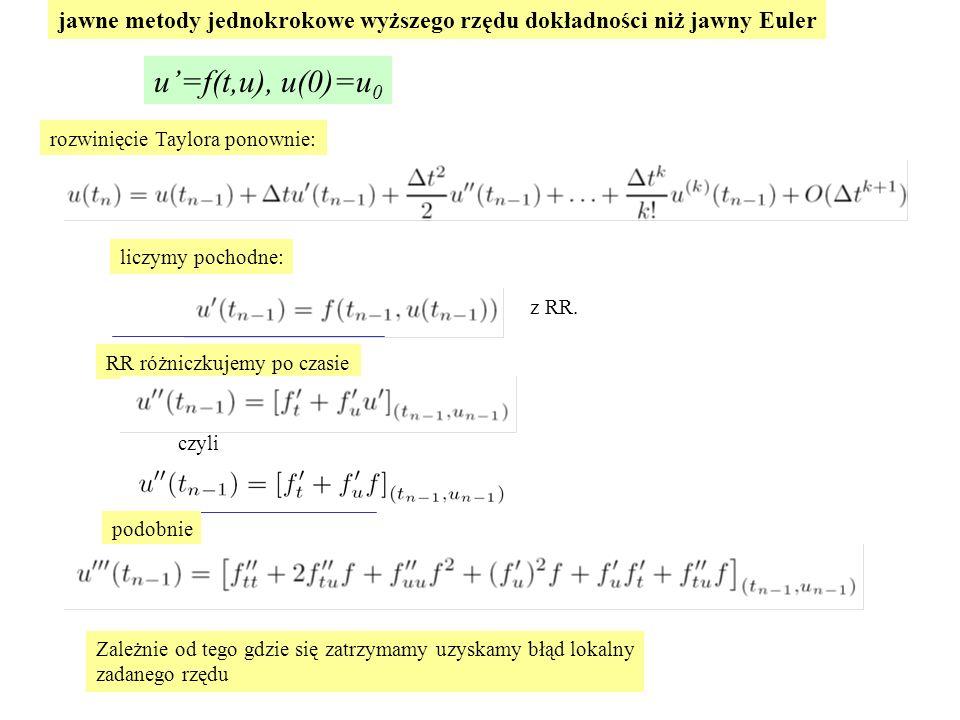 jawne metody jednokrokowe wyższego rzędu dokładności niż jawny Euler
