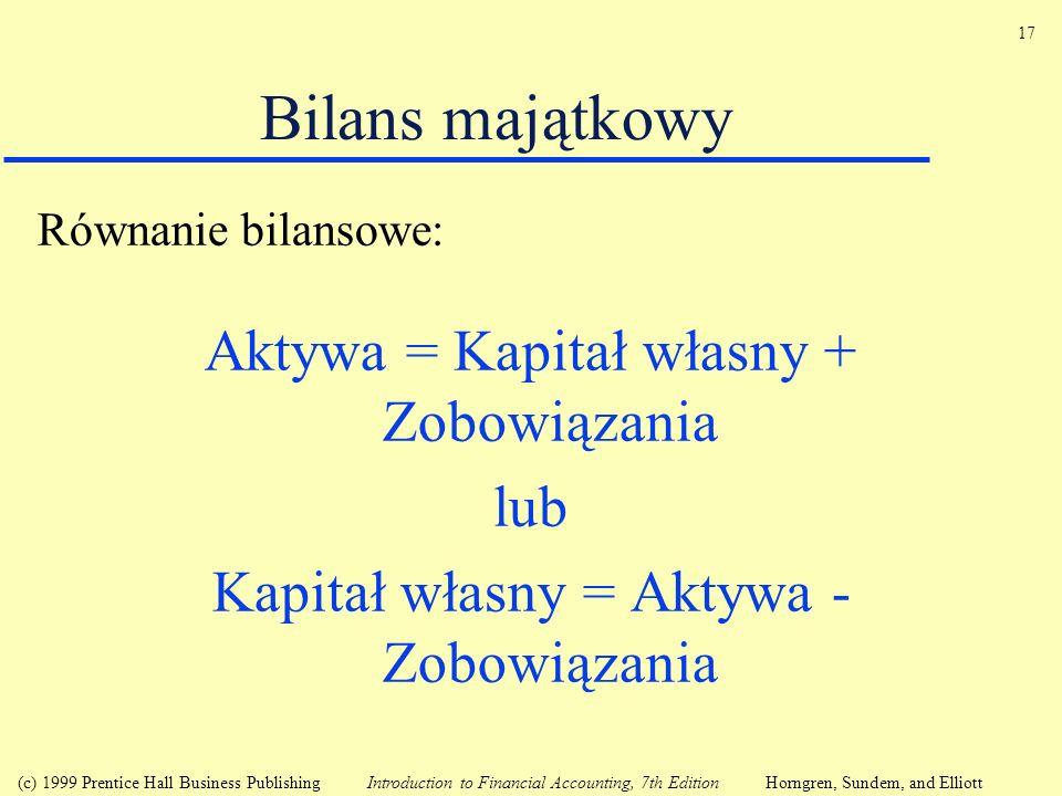 Bilans majątkowy Aktywa = Kapitał własny + Zobowiązania lub