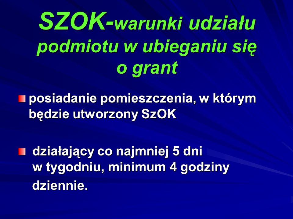 SZOK-warunki udziału podmiotu w ubieganiu się o grant