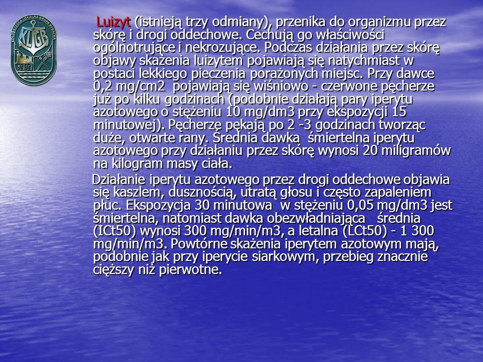 Luizyt (istnieją trzy odmiany), przenika do organizmu przez skórę i drogi oddechowe. Cechują go właściwości ogólnotrujące i nekrozujące. Podczas działania przez skórę objawy skażenia luizytem pojawiają się natychmiast w postaci lekkiego pieczenia porażonych miejsc. Przy dawce 0,2 mg/cm2 pojawiają się wiśniowo - czerwone pęcherze już po kilku godzinach (podobnie działają pary iperytu azotowego o stężeniu 10 mg/dm3 przy ekspozycji 15 minutowej). Pęcherze pękają po 2 -3 godzinach tworząc duże, otwarte rany. Średnia dawka śmiertelna iperytu azotowego przy działaniu przez skórę wynosi 20 miligramów na kilogram masy ciała.