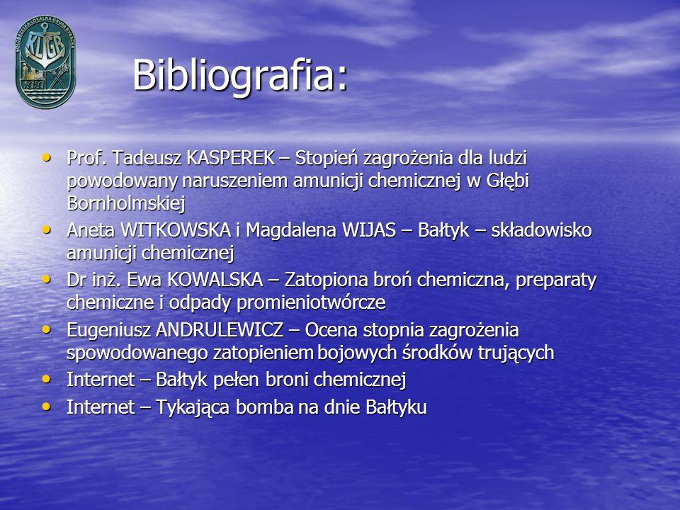 Bibliografia:Prof. Tadeusz KASPEREK – Stopień zagrożenia dla ludzi powodowany naruszeniem amunicji chemicznej w Głębi Bornholmskiej.
