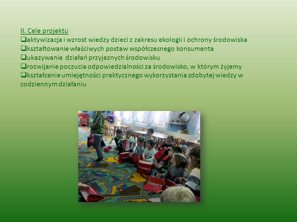 II. Cele projektu aktywizacja i wzrost wiedzy dzieci z zakresu ekologii i ochrony środowiska.