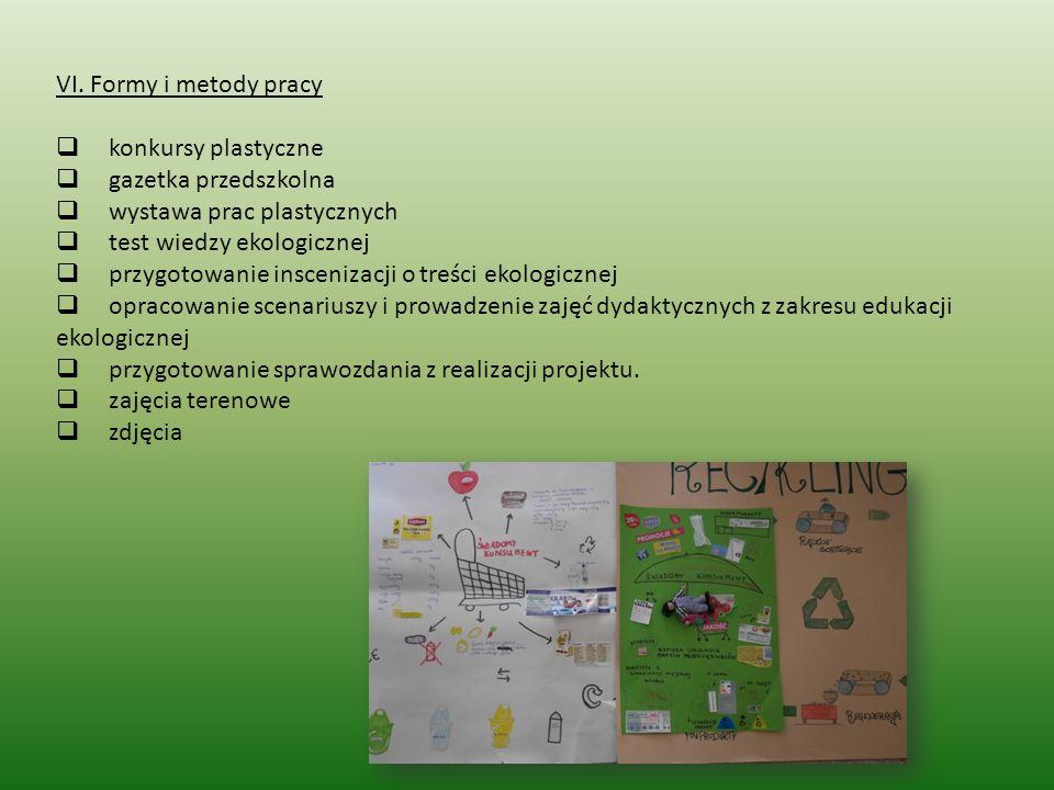 VI. Formy i metody pracy konkursy plastyczne. gazetka przedszkolna. wystawa prac plastycznych.