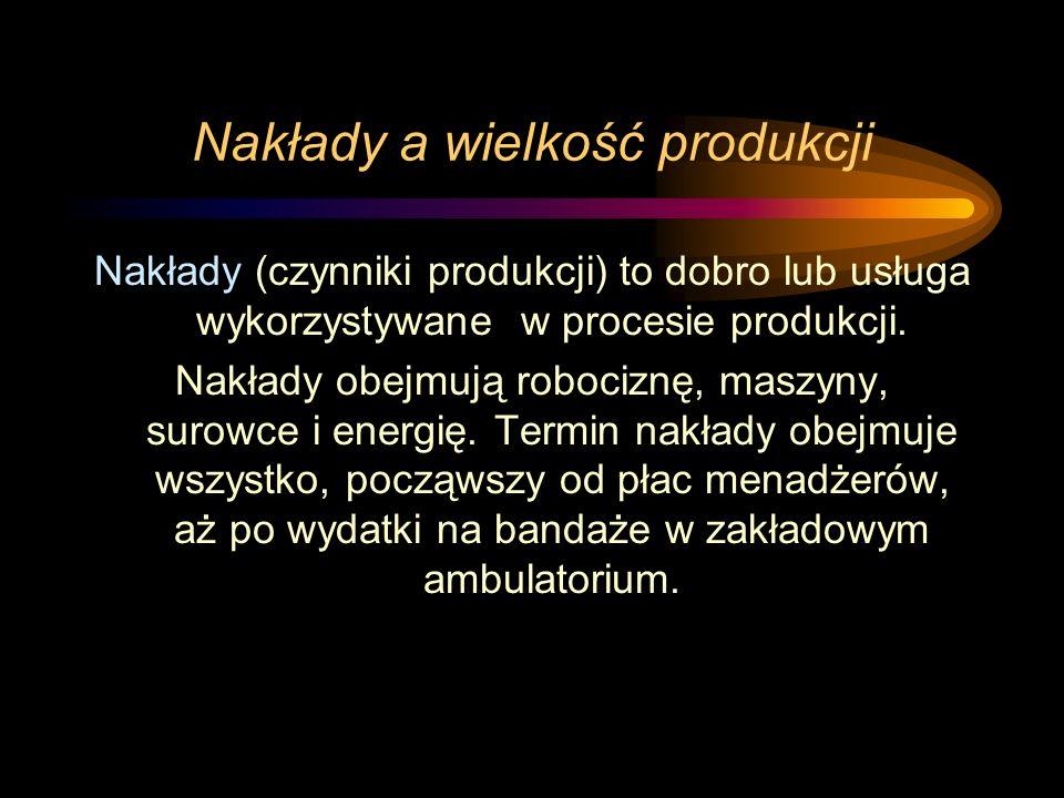 Nakłady a wielkość produkcji