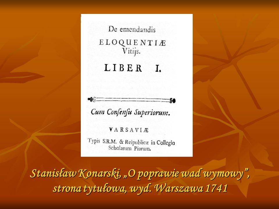 """Stanisław Konarski, """"O poprawie wad wymowy , strona tytułowa, wyd"""