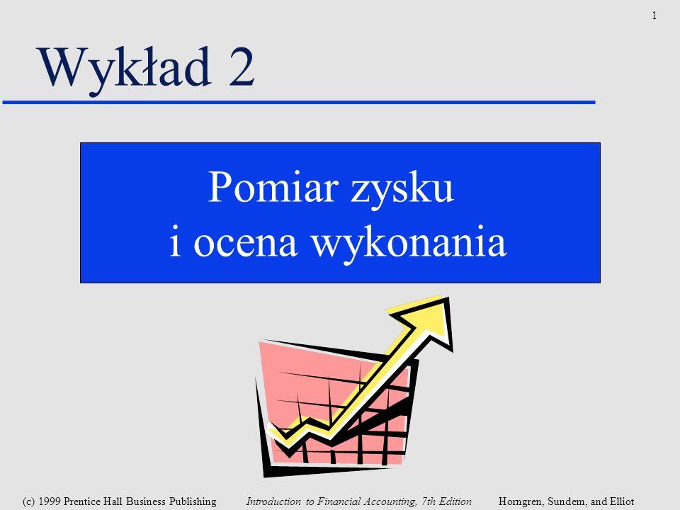 Wykład 2 Pomiar zysku i ocena wykonania