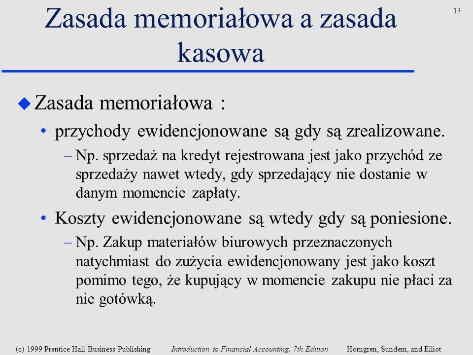 Zasada memoriałowa a zasada kasowa