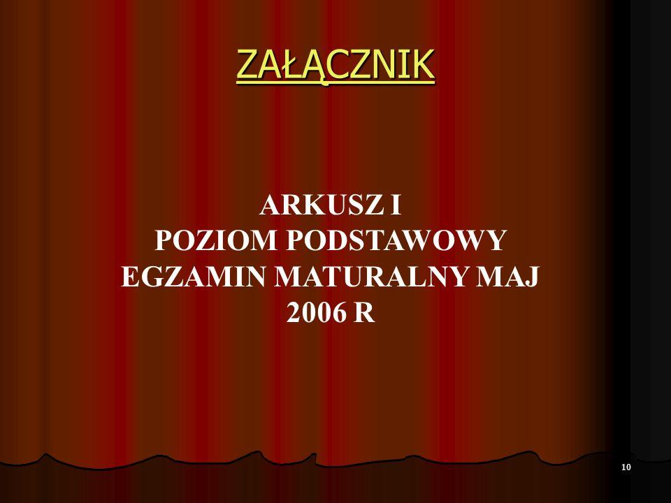 POZIOM PODSTAWOWY EGZAMIN MATURALNY MAJ 2006 R