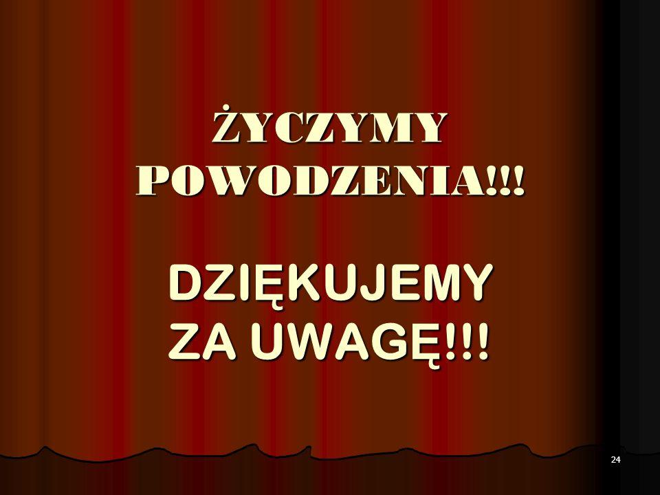 ŻYCZYMY POWODZENIA!!! DZIĘKUJEMY ZA UWAGĘ!!!