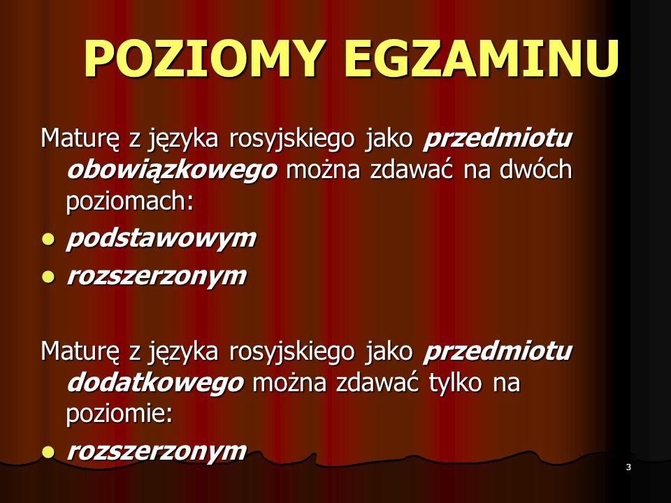 POZIOMY EGZAMINU Maturę z języka rosyjskiego jako przedmiotu obowiązkowego można zdawać na dwóch poziomach: