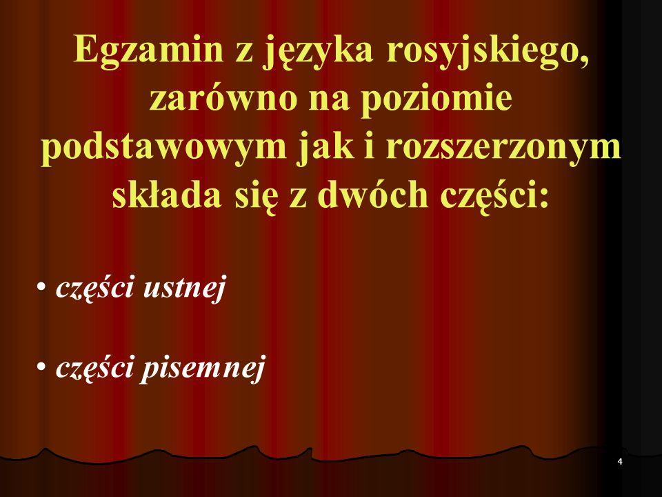 Egzamin z języka rosyjskiego, zarówno na poziomie podstawowym jak i rozszerzonym składa się z dwóch części: